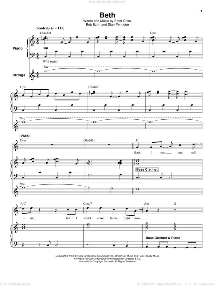 Beth sheet music for keyboard or piano by KISS, Bob Ezrin, Peter Criss and Stan Penridge, intermediate skill level