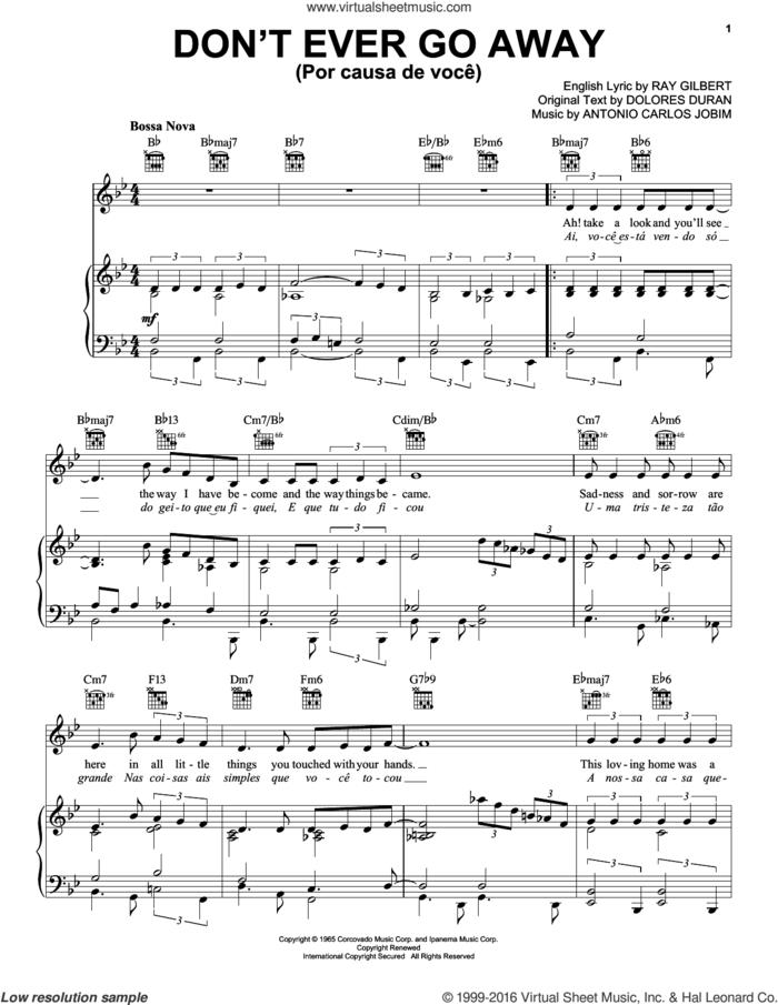 Don't Ever Go Away (Por Causa De Voce) sheet music for voice, piano or guitar by Antonio Carlos Jobim, Frank Sinatra, Dolores Duran and Ray Gilbert, intermediate skill level