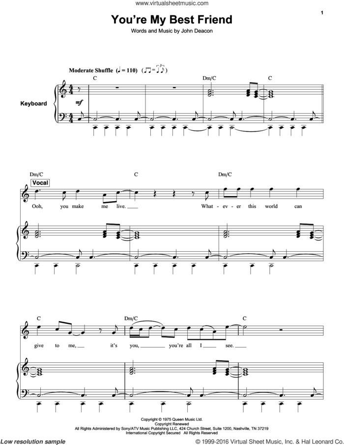 You're My Best Friend sheet music for keyboard or piano by Queen and John Deacon, intermediate skill level