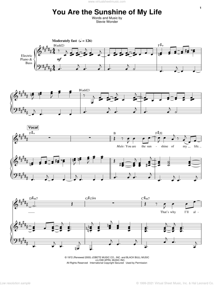 You Are The Sunshine Of My Life sheet music for keyboard or piano by Stevie Wonder, intermediate skill level