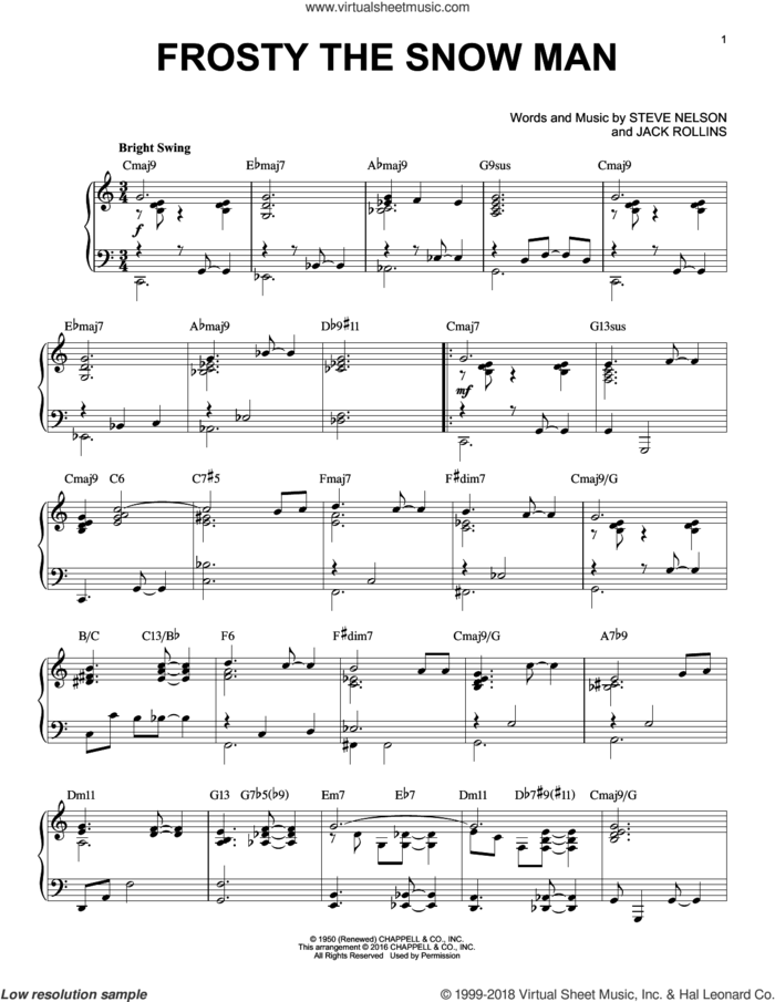 Frosty The Snow Man [Jazz version] (arr. Brent Edstrom) sheet music for piano solo by Steve Nelson and Jack Rollins, intermediate skill level