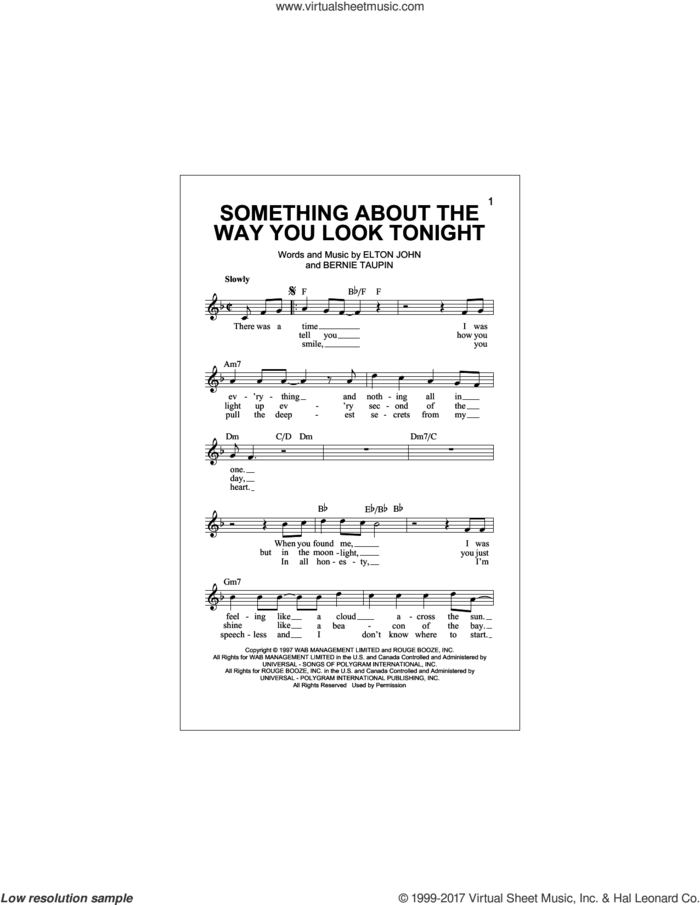 Something About The Way You Look Tonight sheet music for voice and other instruments (fake book) by Elton John and Bernie Taupin, intermediate skill level