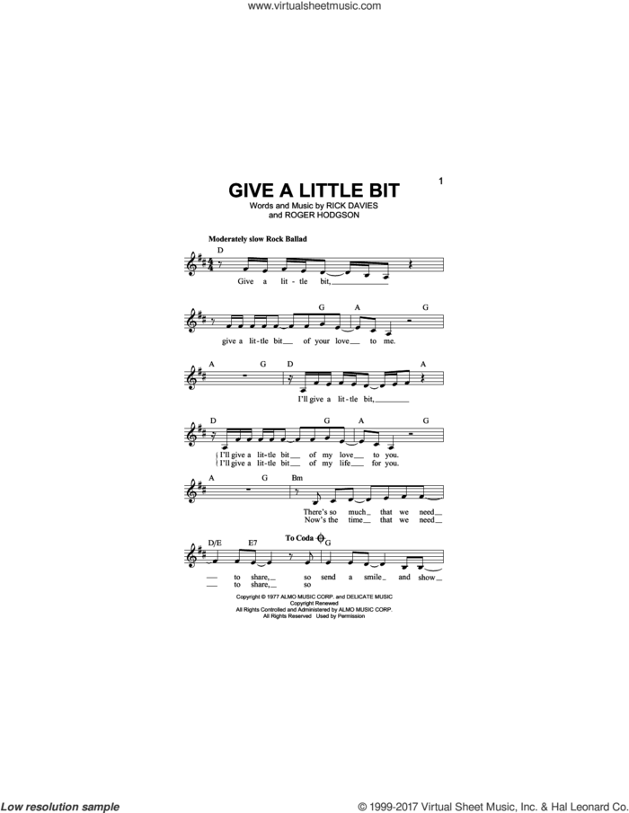 Give A Little Bit sheet music for voice and other instruments (fake book) by Supertramp, Rick Davies and Roger Hodgson, intermediate skill level