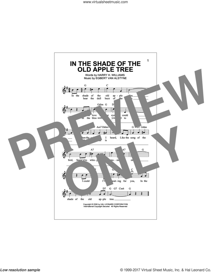 In The Shade Of The Old Apple Tree sheet music for voice and other instruments (fake book) by Egbert Van Alstyne and Harry Williams, intermediate skill level