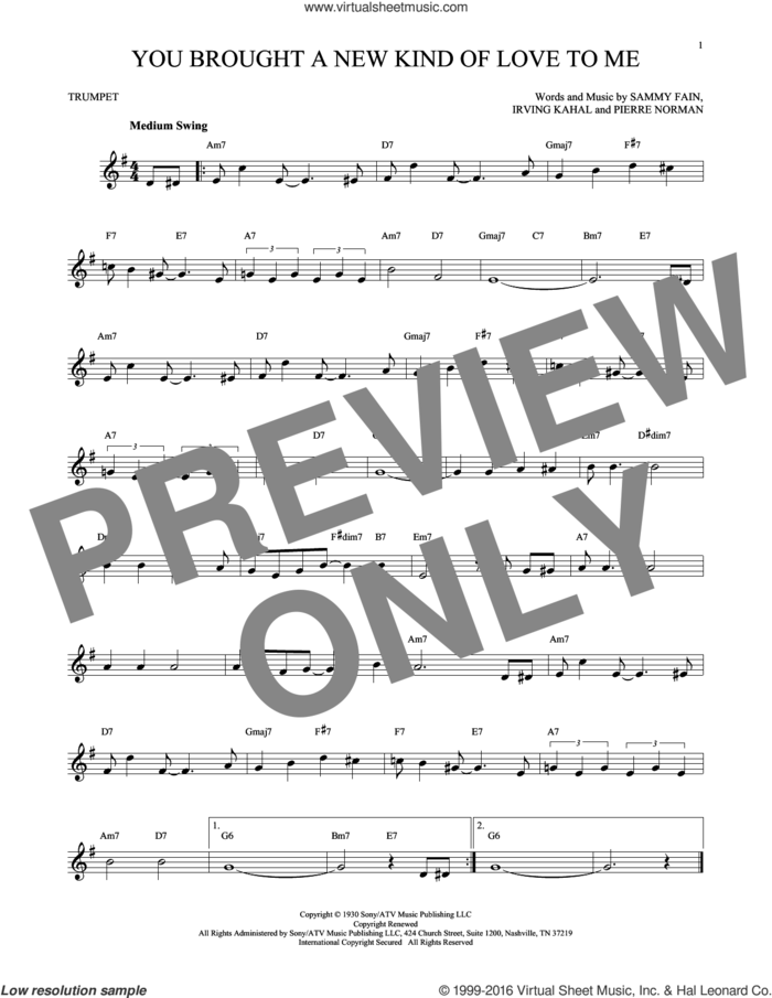 You Brought A New Kind Of Love To Me sheet music for trumpet solo by Sammy Fain, Scott Hamilton, Irving Kahal and Pierre Norman, intermediate skill level