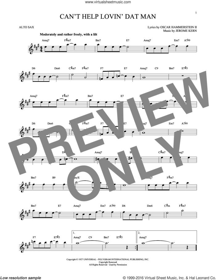 Can't Help Lovin' Dat Man sheet music for alto saxophone solo by Oscar II Hammerstein, Annette Warren, Helen Morgan and Jerome Kern, intermediate skill level