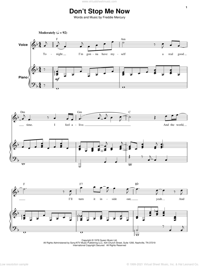 Don't Stop Me Now sheet music for keyboard or piano by Queen and Freddie Mercury, intermediate skill level