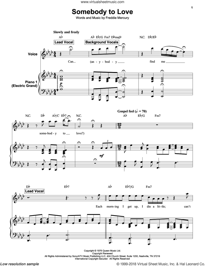 Somebody To Love sheet music for keyboard or piano by Queen and Freddie Mercury, intermediate skill level