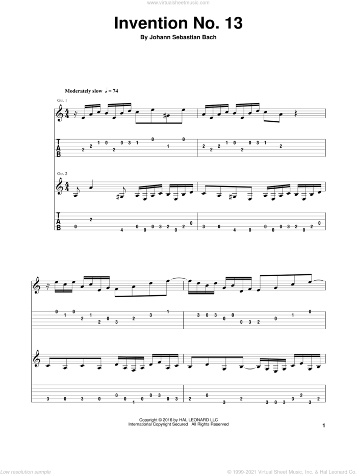 Invention No.13 sheet music for two guitars with tablature by Johann Sebastian Bach, classical score, intermediate skill level