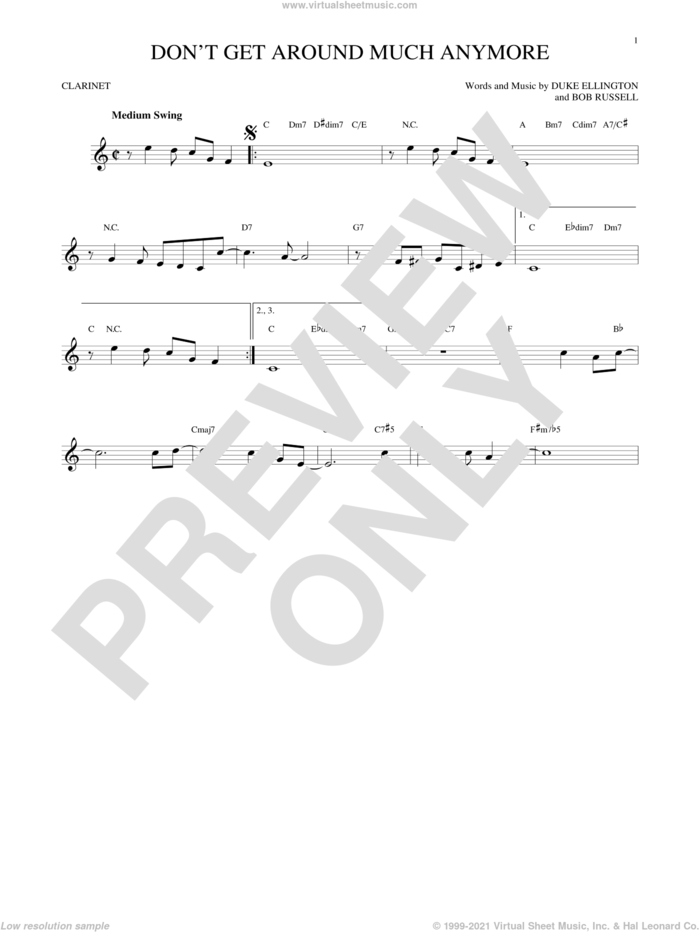 Don't Get Around Much Anymore sheet music for clarinet solo by Duke Ellington and Bob Russell, intermediate skill level