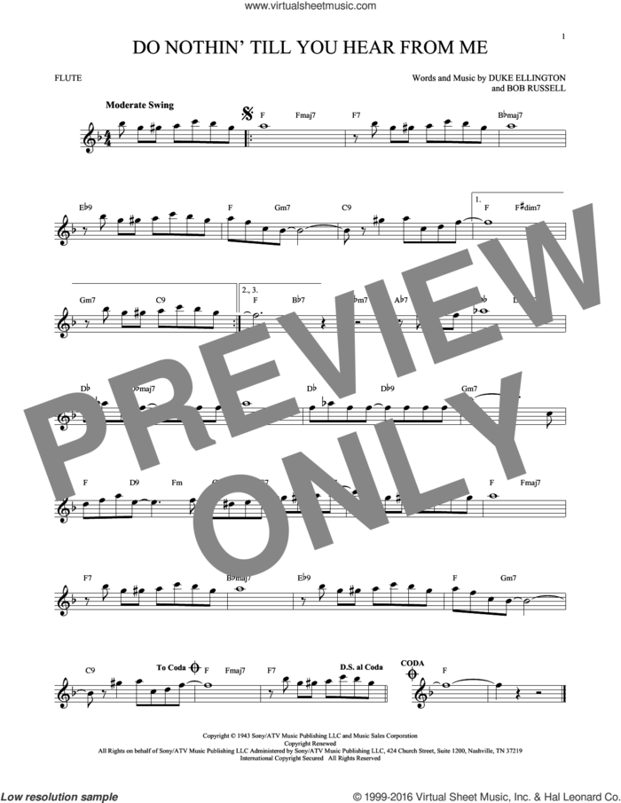 Do Nothin' Till You Hear From Me sheet music for flute solo by Duke Ellington and Bob Russell, intermediate skill level