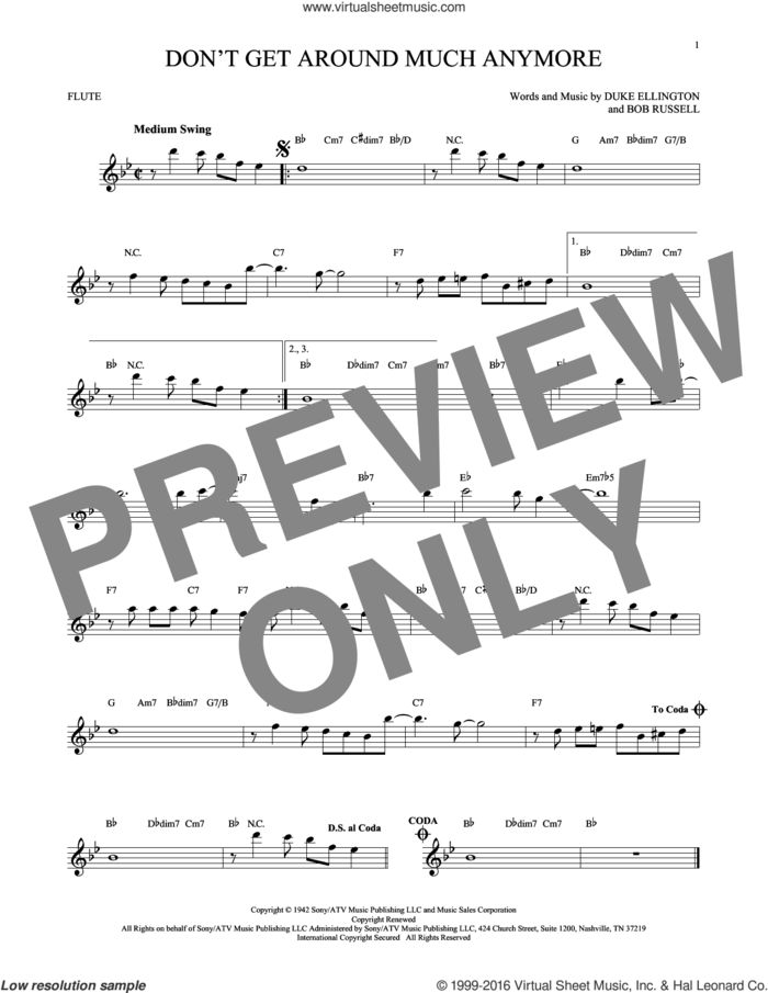 Don't Get Around Much Anymore sheet music for flute solo by Duke Ellington and Bob Russell, intermediate skill level