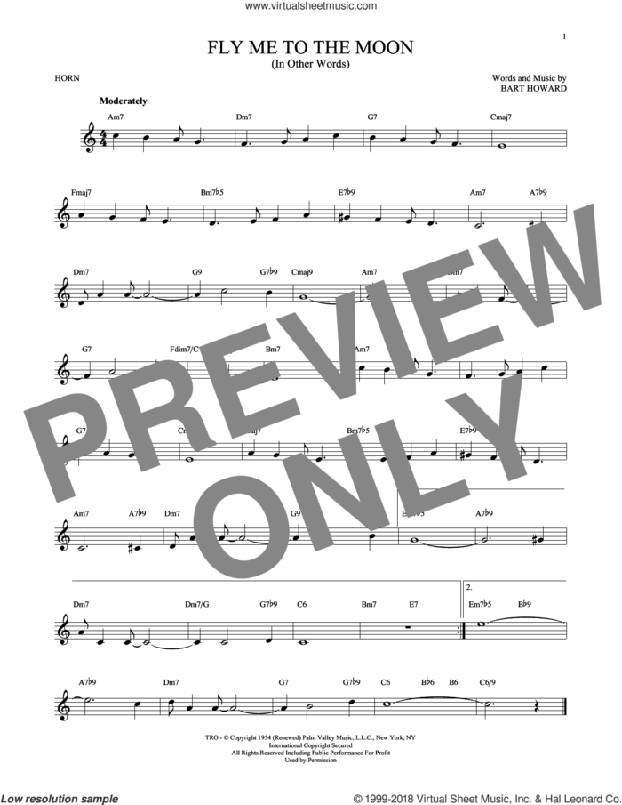 Fly Me To The Moon (In Other Words) sheet music for horn solo by Bart Howard and Tony Bennett, intermediate skill level