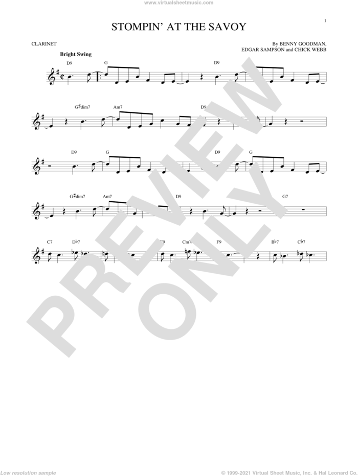 Stompin' At The Savoy sheet music for clarinet solo by Benny Goodman, Andy Razaf, Chick Webb and Edgar Sampson, intermediate skill level