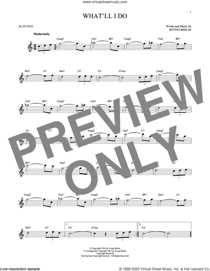 What'll I Do? sheet music for alto saxophone solo by Irving Berlin and Bobby Scott, intermediate skill level