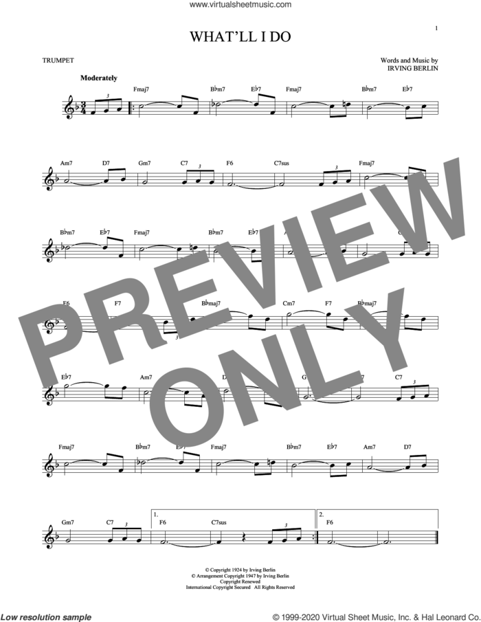 What'll I Do? sheet music for trumpet solo by Irving Berlin and Bobby Scott, intermediate skill level