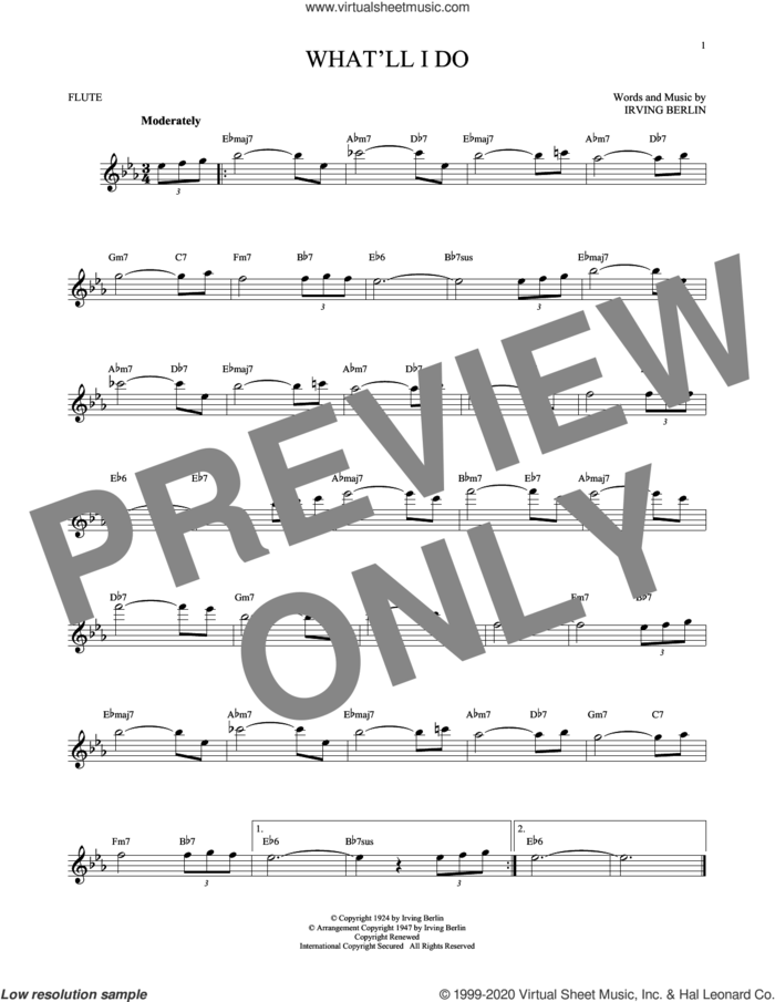 What'll I Do? sheet music for flute solo by Irving Berlin and Bobby Scott, intermediate skill level