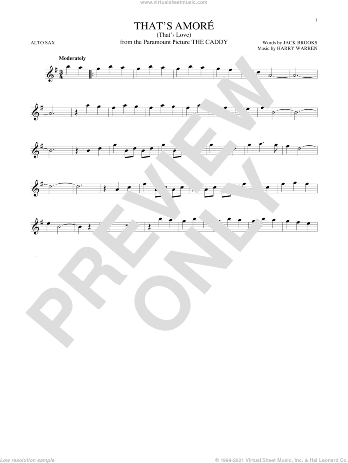 That's Amore (That's Love) sheet music for alto saxophone solo by Dean Martin, Miscellaneous, Harry Warren and Jack Brooks, intermediate skill level