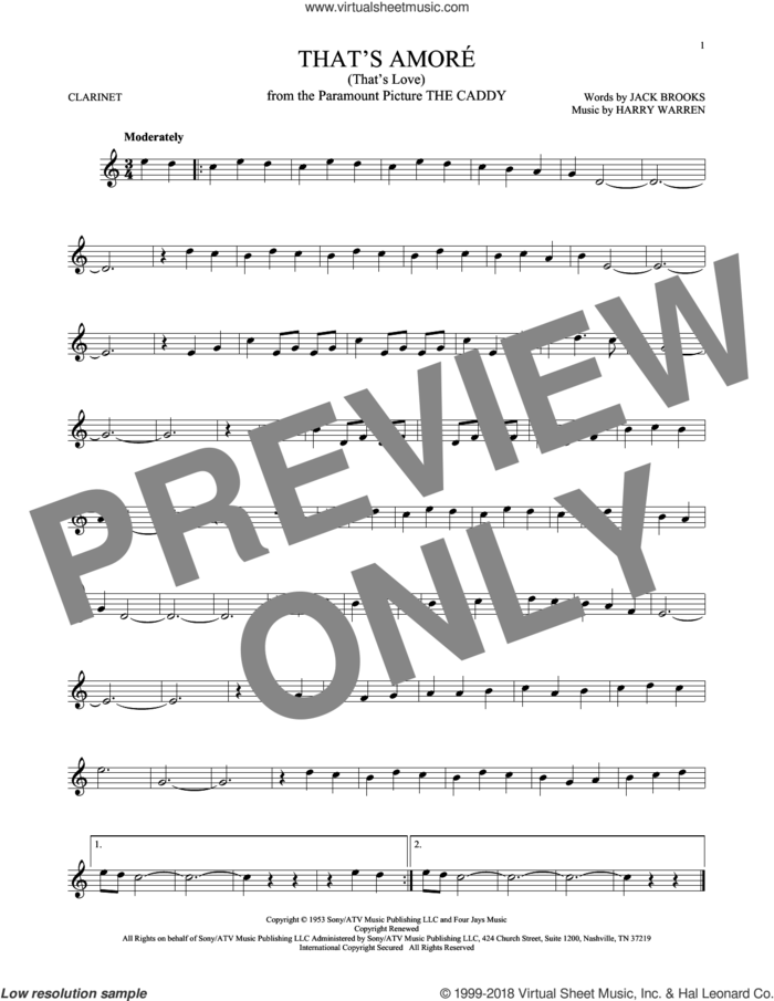 That's Amore (That's Love) sheet music for clarinet solo by Dean Martin, Harry Warren and Jack Brooks, intermediate skill level