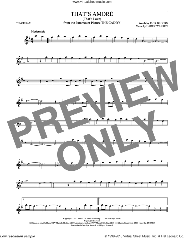 That's Amore (That's Love) sheet music for tenor saxophone solo by Harry Warren and Jack Brooks, intermediate skill level