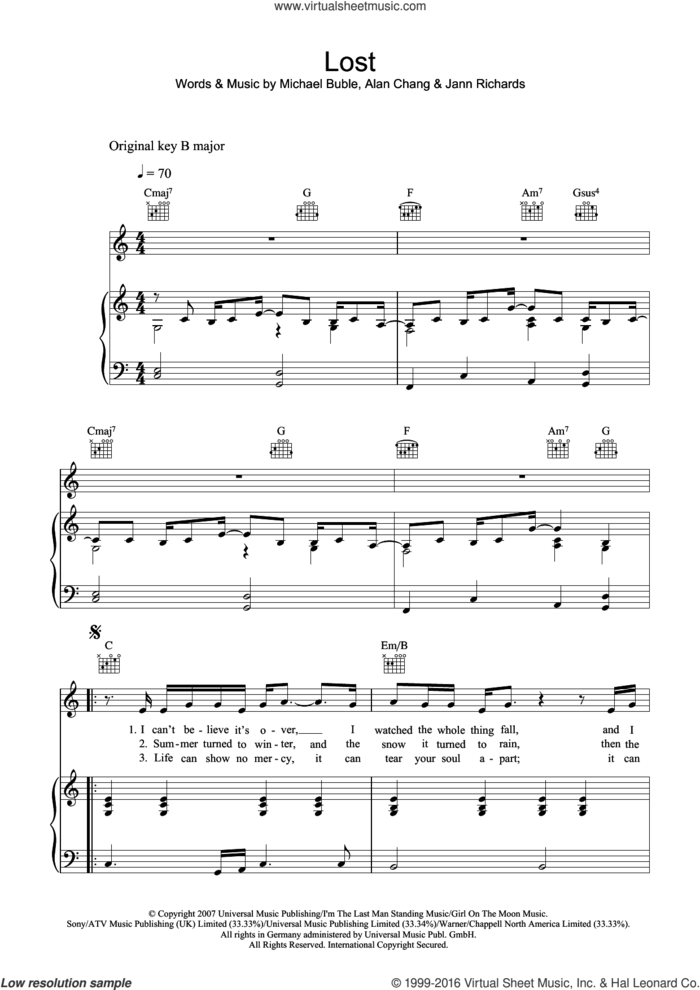 Lost sheet music for voice, piano or guitar by Michael Buble, Alan Chang and Jann Richards, intermediate skill level