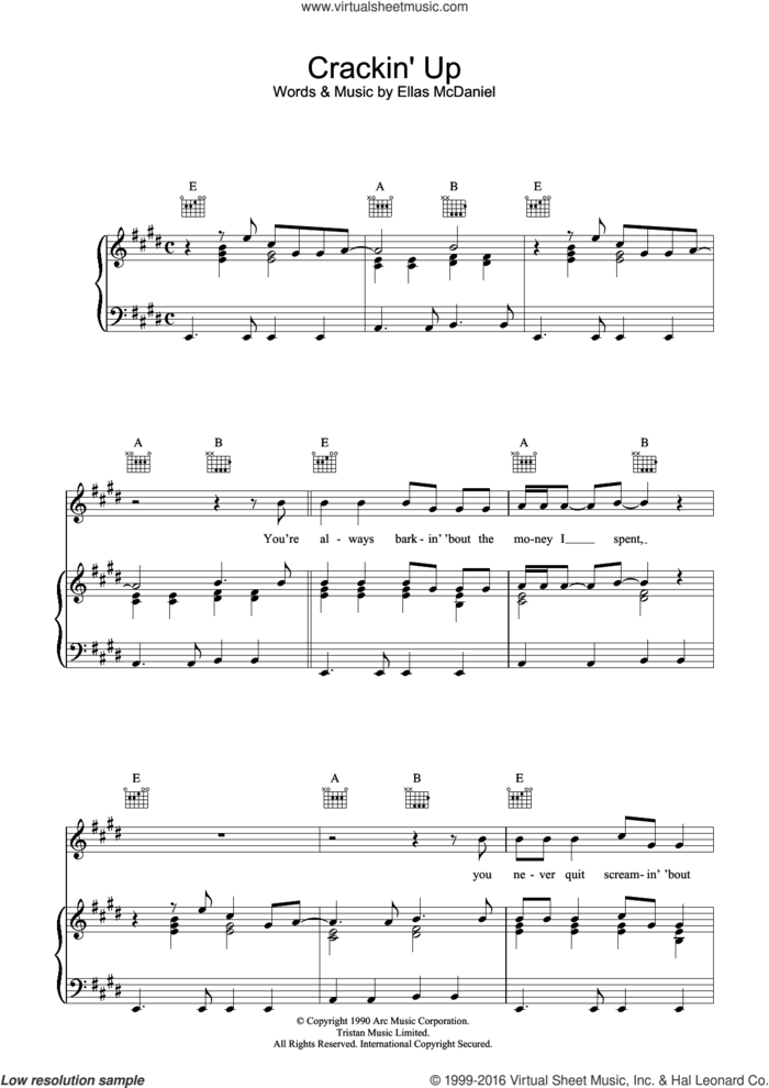 Crackin' Up sheet music for voice, piano or guitar by Paul McCartney and Ellas McDaniels, intermediate skill level