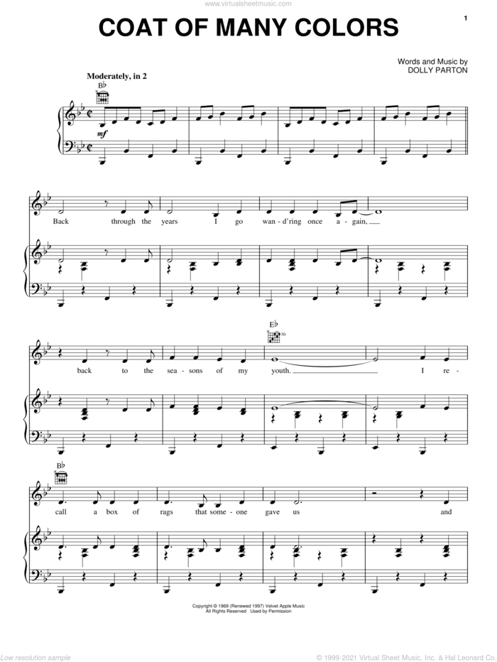 Coat Of Many Colors sheet music for voice, piano or guitar by Dolly Parton, intermediate skill level