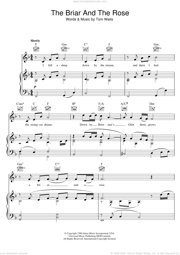 The Briar And The Rose sheet music for voice, piano or guitar by Tom Waits, intermediate skill level