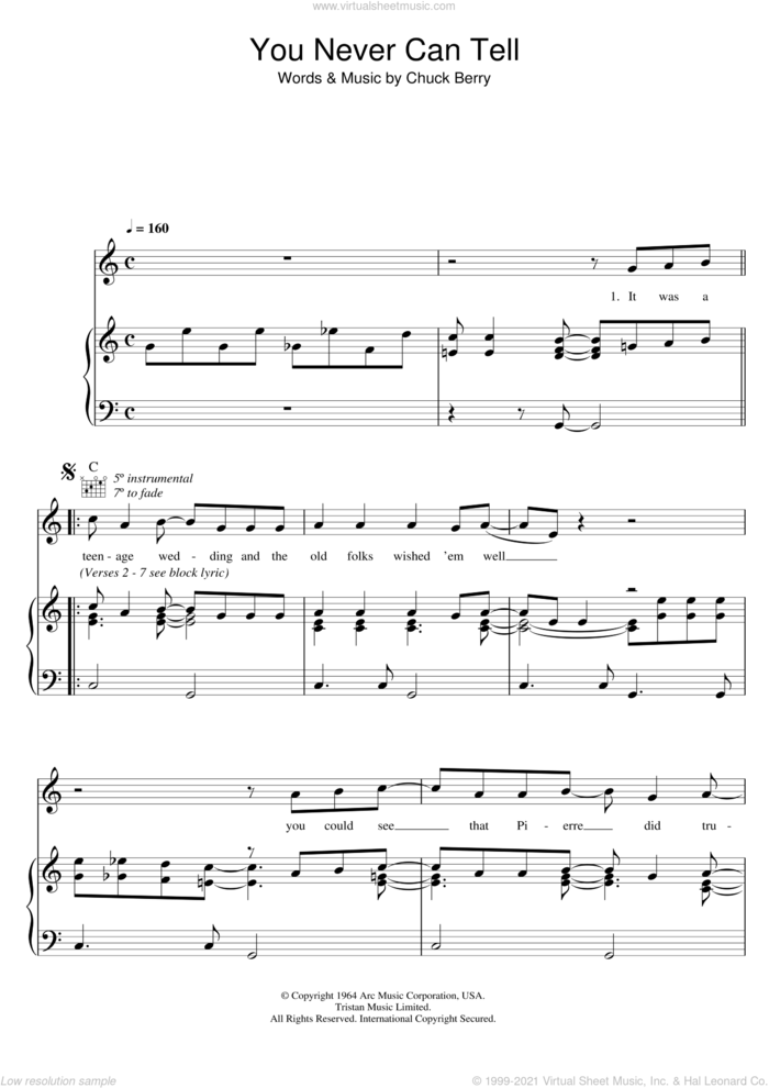 You Never Can Tell (from Pulp Fiction) sheet music for voice, piano or guitar by Chuck Berry, intermediate skill level