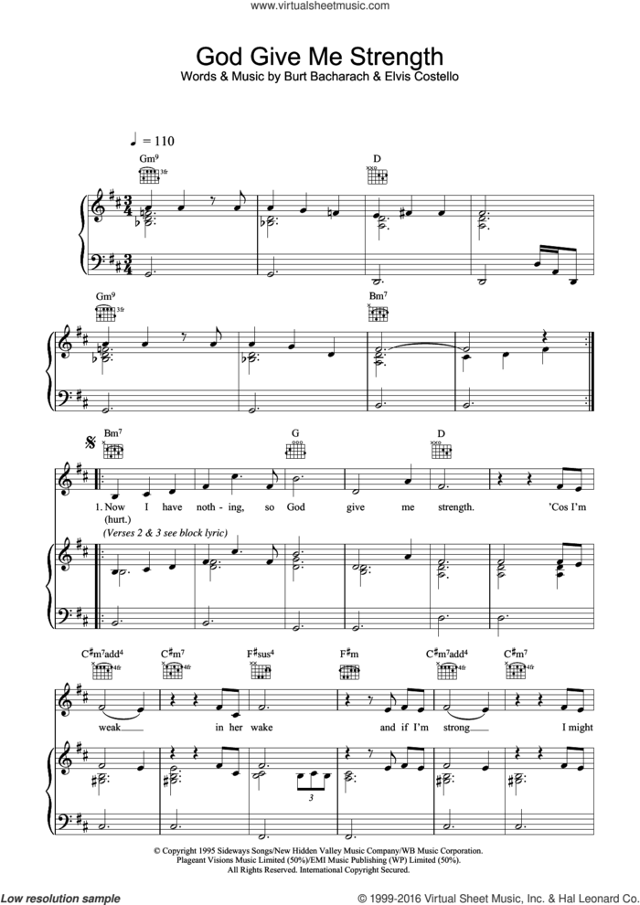 God Give Me Strength sheet music for voice, piano or guitar by Elvis Costello and Burt Bacharach, intermediate skill level