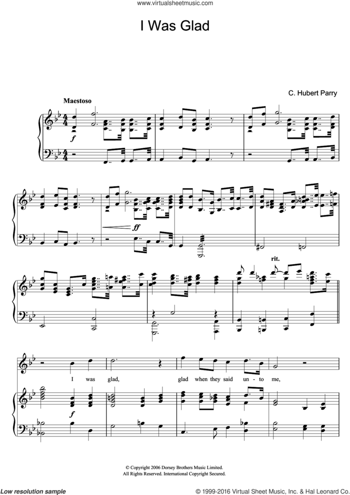 I Was Glad sheet music for voice and piano by Hubert Parry, intermediate skill level