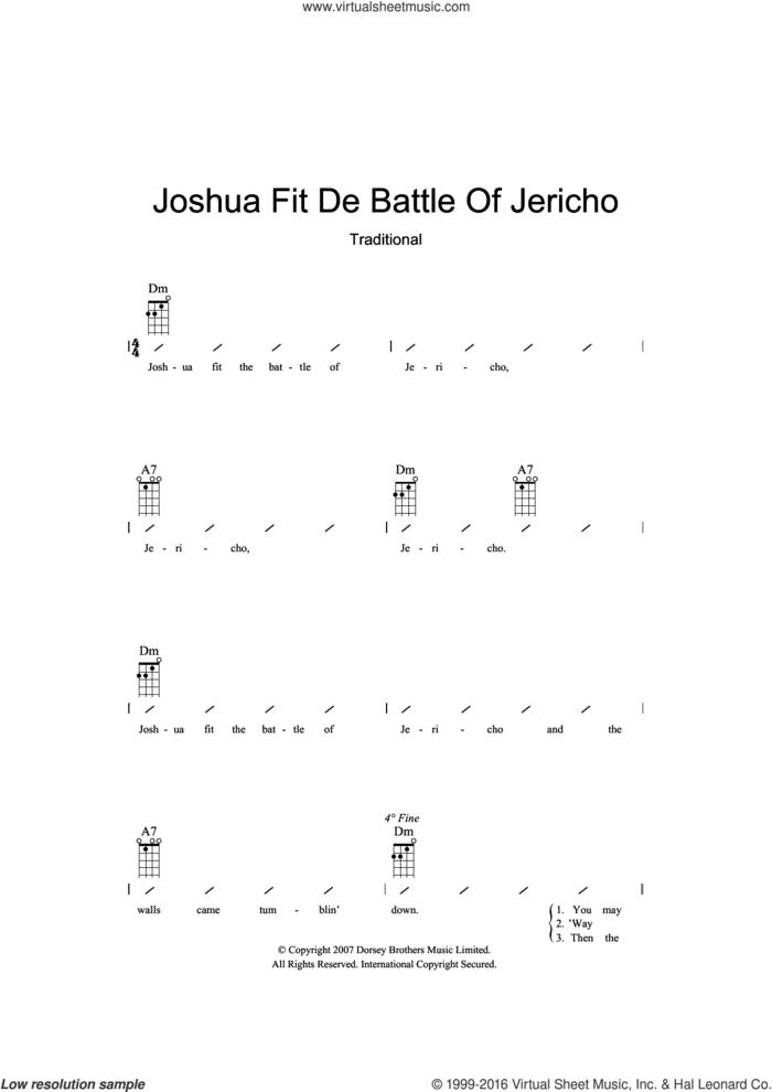 Joshua Fit De Battle Of Jericho sheet music for ukulele (chords), intermediate skill level
