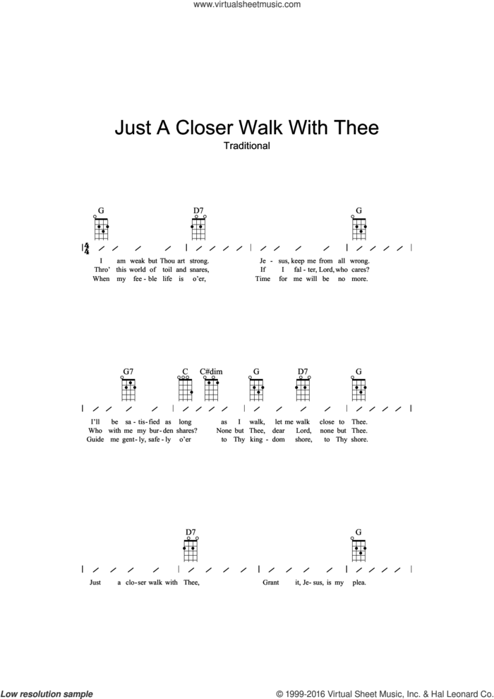 Just A Closer Walk With Thee sheet music for ukulele (chords), intermediate skill level
