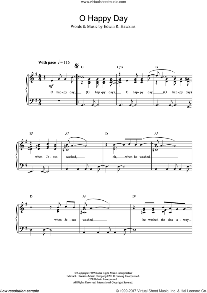 Oh Happy Day sheet music for voice and piano by Edwin R. Hawkins and Miscellaneous, intermediate skill level