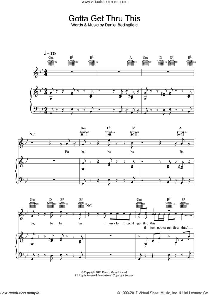 Gotta Get Thru This sheet music for voice, piano or guitar by Daniel Bedingfield, intermediate skill level