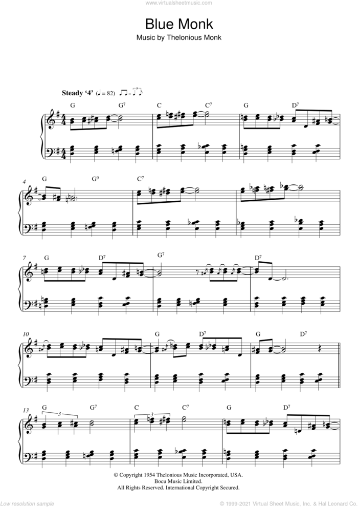 Blue Monk sheet music for piano solo by Thelonious Monk, intermediate skill level
