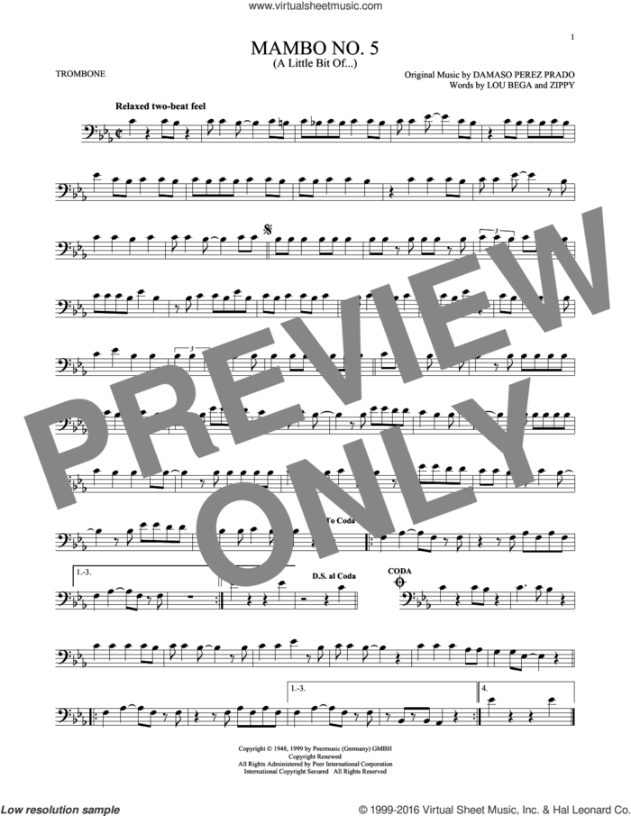 Mambo No. 5 (A Little Bit Of...) sheet music for trombone solo by Lou Bega, Damaso Perez Prado and Zippy, intermediate skill level