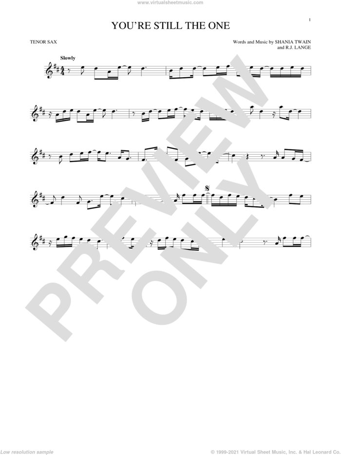 You're Still The One sheet music for tenor saxophone solo by Shania Twain and Robert John Lange, intermediate skill level