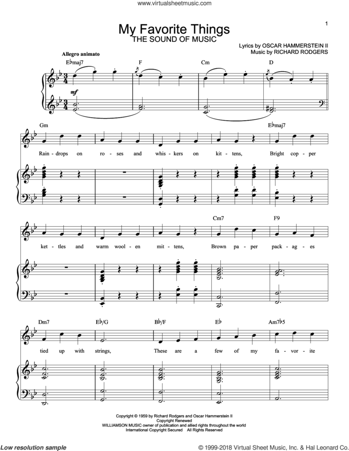 My Favorite Things sheet music for voice and piano by Rodgers & Hammerstein, Julie Andrews, The Sound Of Music (Musical), Oscar II Hammerstein and Richard Rodgers, intermediate skill level