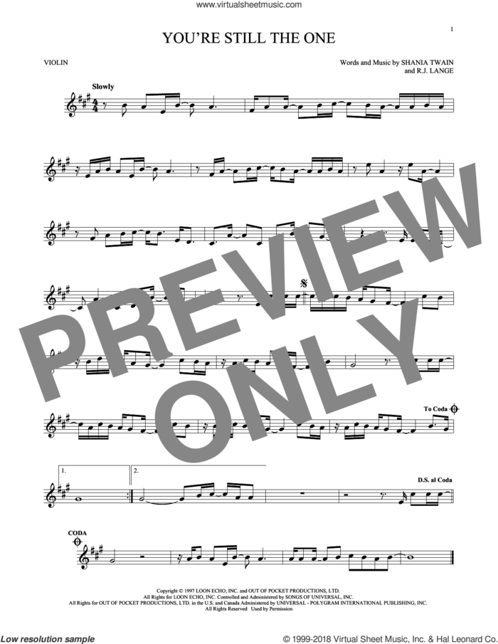 You're Still The One sheet music for violin solo by Shania Twain and Robert John Lange, intermediate skill level
