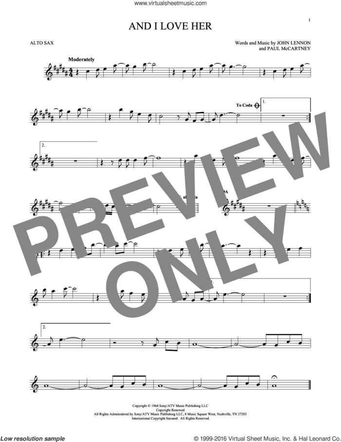 And I Love Her sheet music for alto saxophone solo by The Beatles, Esther Phillips, John Lennon and Paul McCartney, intermediate skill level