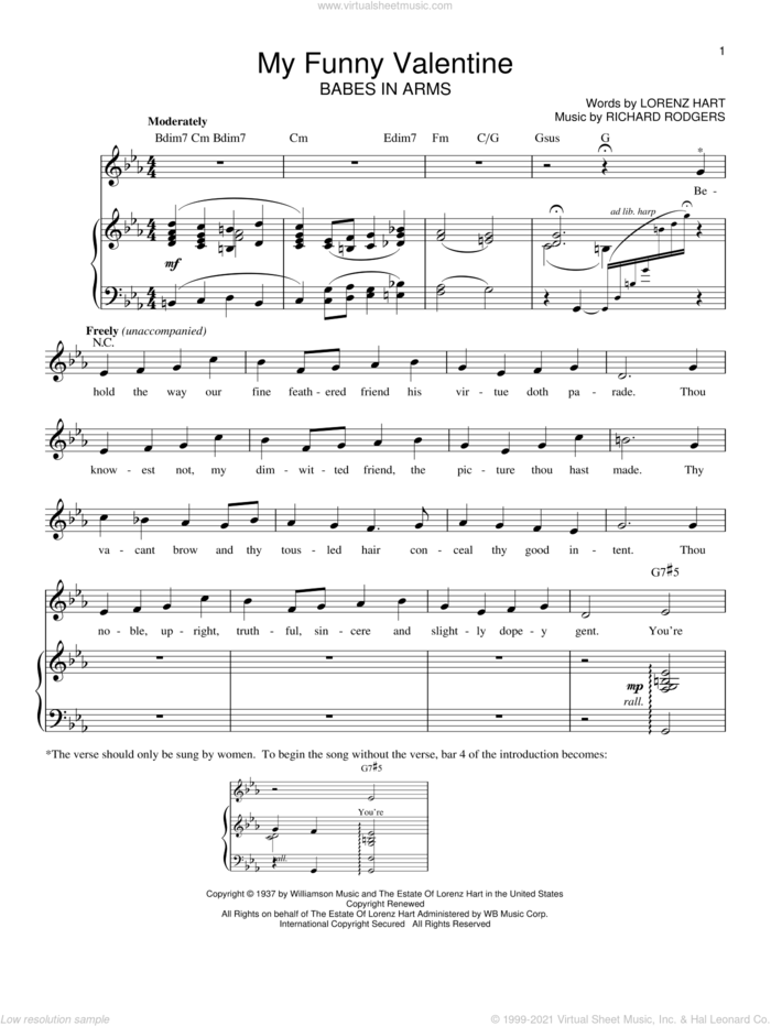 My Funny Valentine sheet music for voice and piano by Rodgers & Hart, Babes In Arms (Musical), Lorenz Hart and Richard Rodgers, intermediate skill level
