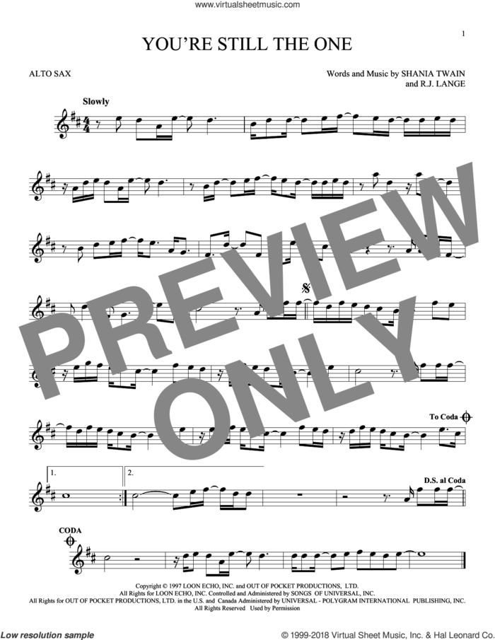 You're Still The One sheet music for alto saxophone solo by Shania Twain and Robert John Lange, intermediate skill level