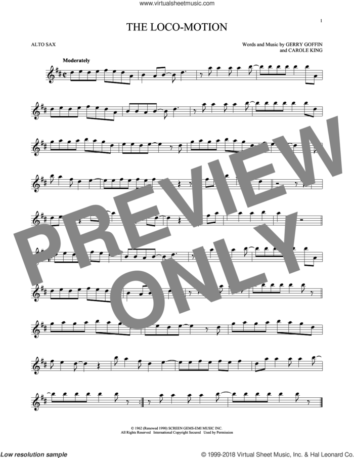 The Loco-Motion sheet music for alto saxophone solo by Little Eva, Carole King and Gerry Goffin, intermediate skill level