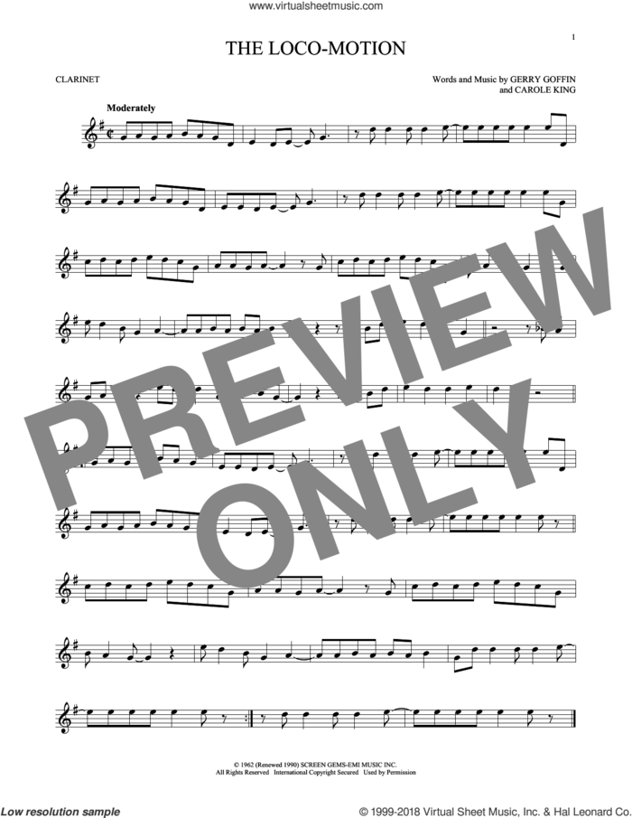 The Loco-Motion sheet music for clarinet solo by Little Eva, Carole King and Gerry Goffin, intermediate skill level