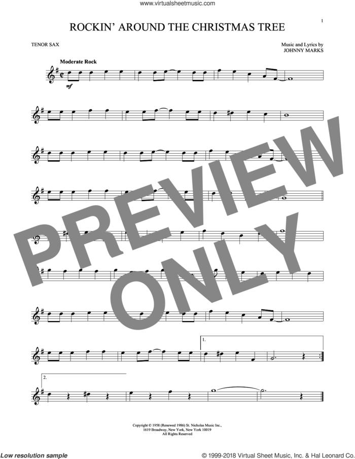 Rockin' Around The Christmas Tree sheet music for tenor saxophone solo by Johnny Marks, intermediate skill level