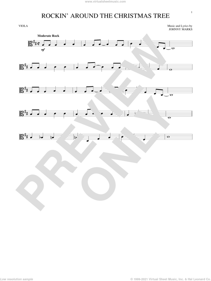 Rockin' Around The Christmas Tree sheet music for viola solo by Johnny Marks, intermediate skill level