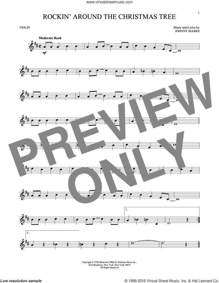 Rockin' Around The Christmas Tree sheet music for violin solo by Johnny Marks, intermediate skill level