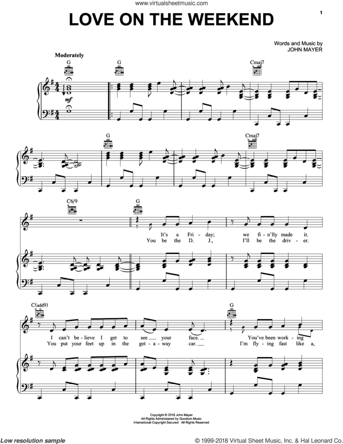 Love On The Weekend sheet music for voice, piano or guitar by John Mayer, intermediate skill level
