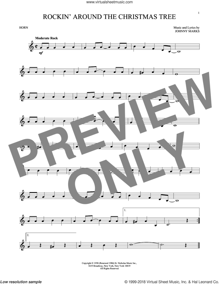 Rockin' Around The Christmas Tree sheet music for horn solo by Johnny Marks, intermediate skill level